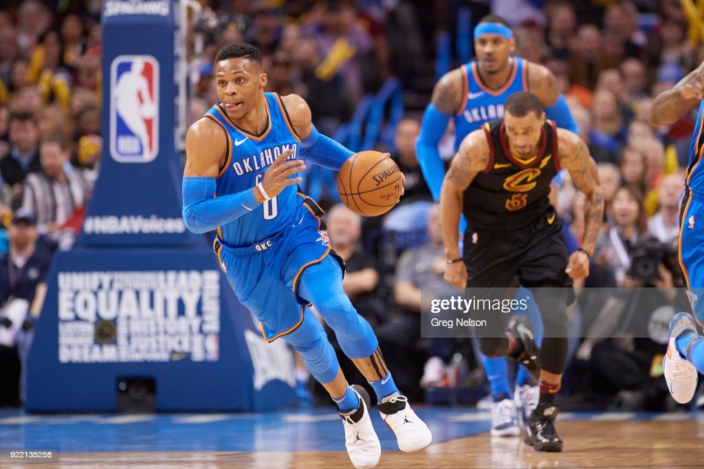 Oklahoma City Thunder Russell Westbrook (0) in action vs Cleveland Cavaliers at Chesapeake Energy Arena. Greg Nelson TK1 )