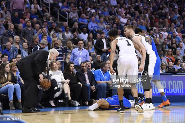 Oklahoma City Thunder Russell Westbrook laying face down on court with injury during game vs San Antonio Spurs at Chesapeake Energy Arena Oklahoma...