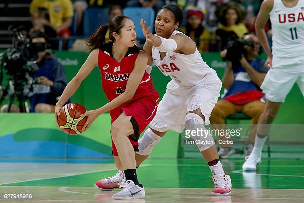 Basketball - Olympics: Day 11 Kaede Kondo of Japan is defended by Maya Moore of United States during the USA Vs Japan Women's Basketball Quarterfinal...