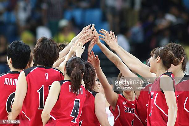 Basketball - Olympics: Day 11 The Japanese team embrace during the USA Vs Japan Women's Basketball Quarterfinal at Carioca Arena1 on August 16, 2016...