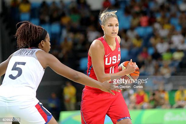 Day 13 Elena Delle Donne of United States defended by Endy Miyem of France during the USA Vs France Women's Basketball Semifinal at Carioca Arena1 on...