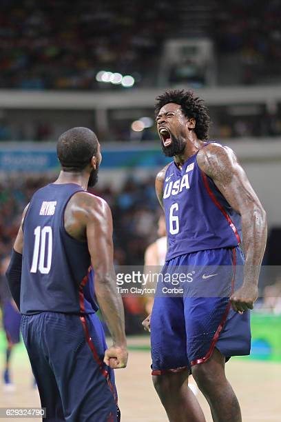 Day 14 DeAndre Jordan of United States celebrates after a dunk with team mate Kyrie Irving of United States during the United States Vs Spain Men's...