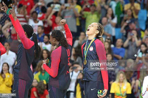 Day 15 Brittney Griner of United States screams with delight after the USA gold medal win during the USA Vs Spain Women's Basketball Final at Carioca...