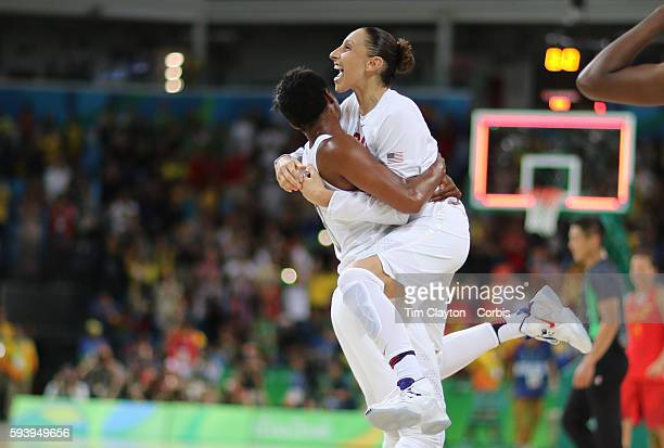Day 15 Diana Taurasi of United States celebrates with Angel Mccoughtry of United States after the USA gold medal win during the USA Vs Spain Women's...