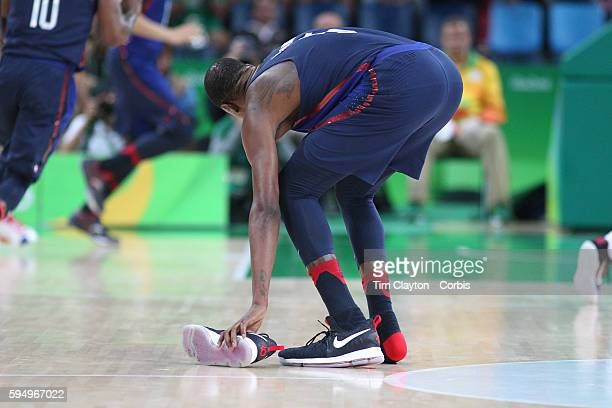 Day 16 Kevin Durant of United States loses his shoe during the USA Vs Serbia Men's Basketball Gold Medal game at Carioca Arena1on August 21 2016 in...