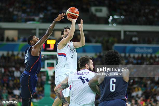 Day 16 Milos Teodosic of Serbia shoots during the USA Vs Serbia Men's Basketball Gold Medal game at Carioca Arena1on August 21 2016 in Rio de Janeiro...