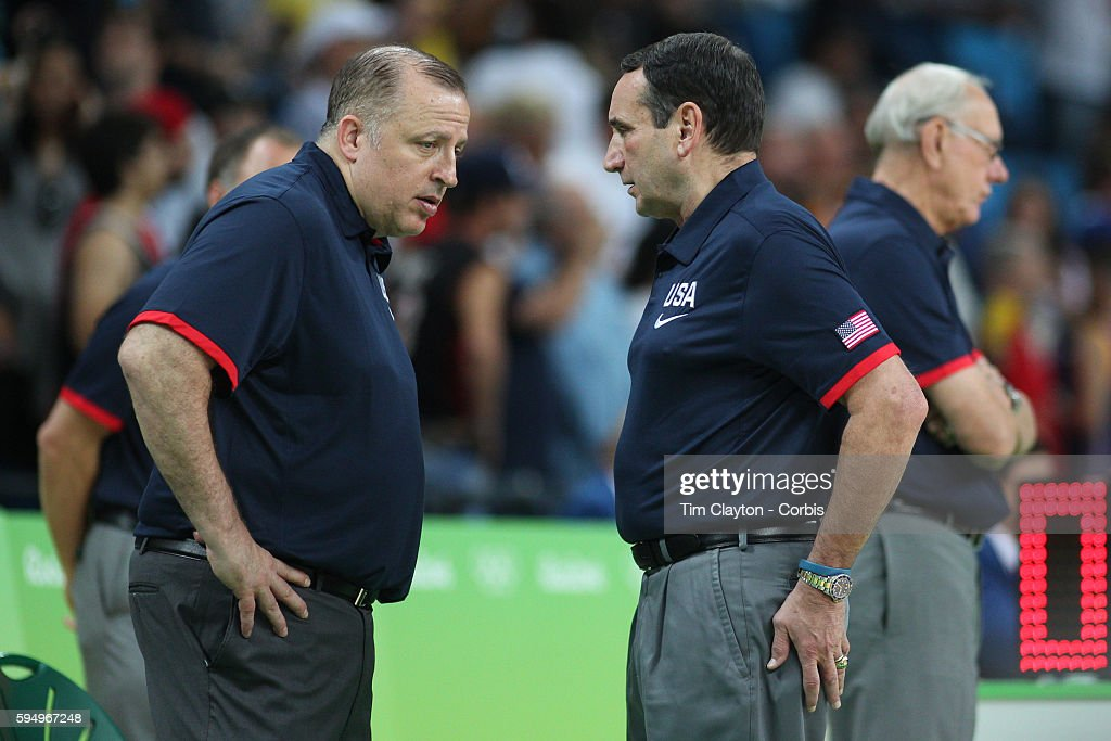 Day 16 USA head coach Mike Krzyzewski, (right), with assistant coach Tom Thibodeau during the USA Vs Serbia Men's Basketball Gold Medal game at Carioca Arena1on August 21, 2016 in Rio de Janeiro, Brazil.