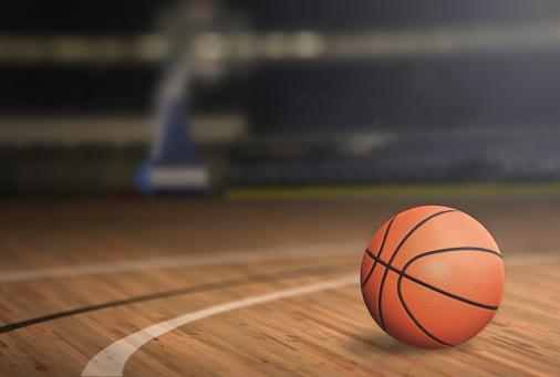 Basketball on Court Floor 505125162