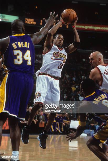 Philadelphia 76ers Allen Iverson in action vs Los Angeles Lakers Shaquille O'Neal and Kobe Bryant at Wells Fargo Center Philadelphia PA CREDIT Manny...