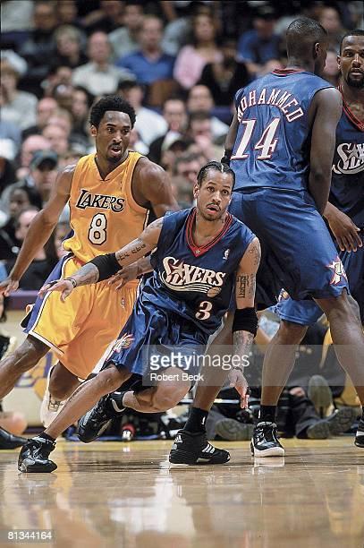 Basketball Philadelphia 76ers Allen Iverson in action vs Los Angeles Lakers Kobe Bryant Los Angeles CA 12/5/2000