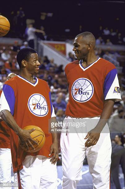 Philadelphia 76ers Allen Iverson on court with teammate Jerry Stackhouse before game vs Los Angeles Lakers Philadelphia PA 1/26/1997 CREDIT Al...
