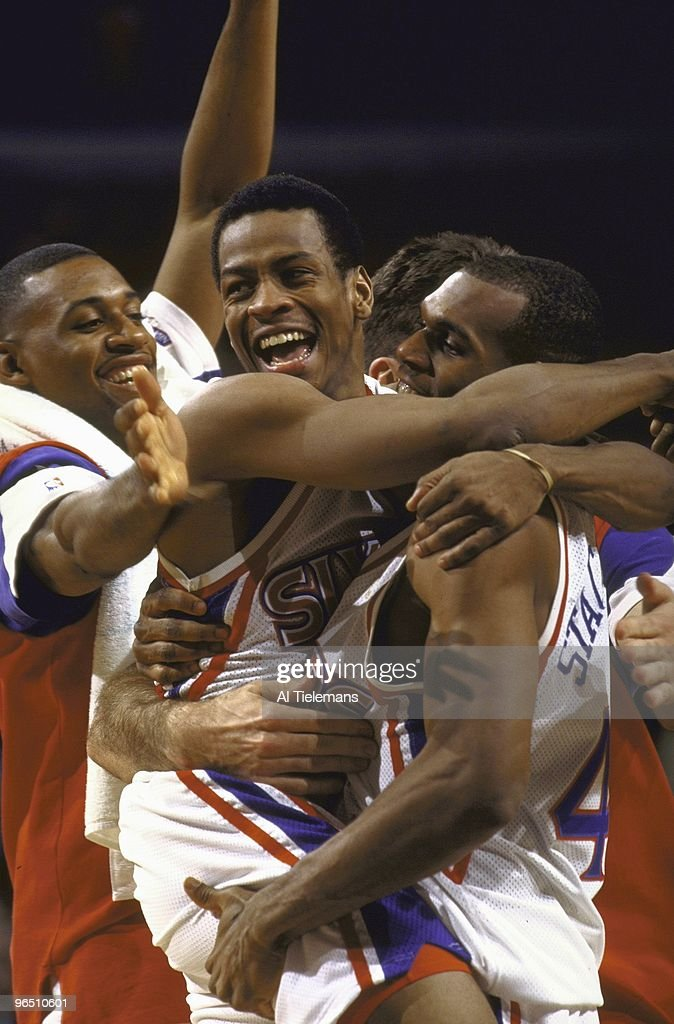 Philadelphia 76ers Allen Iverson (3) victorious with Jerry Stackhouse (42) after winning game vs Toronto Raptors. Philadelphia, PA 1/29/1997
