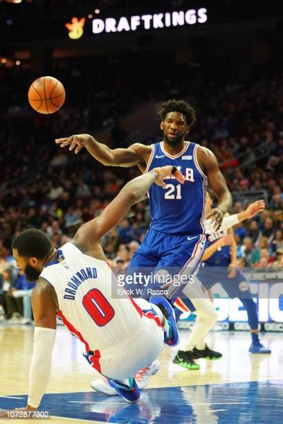 Philadelphia 76ers Joel Embiid in action passing vs Detroit Pistons at Wells Fargo Center Philadelphia PA CREDIT Erick W Rasco