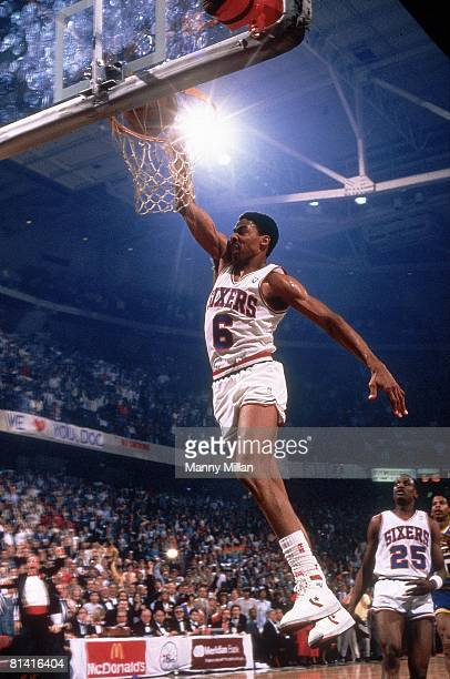 Basketball Philadelphia 76ers Julius Erving in action making dunk vs Indiana Pacers Philadelphia PA 4/17/1987