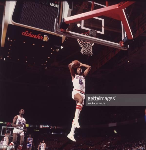 Basketball Philadelphia 76ers Julius Erving in action making dunk vs Detroit Pistons Philadelphia PA