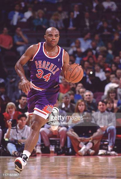 Phoenix Suns Charles Barkley in action vs Detroit Pistons at The Palace Auburn Hills MI CREDIT Manny Millan