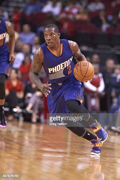 Phoenix Suns Eric Bledsoe in action vs Houston Rockets during preseason game at Toyota Center. Houston, TX CREDIT: Greg Nelson