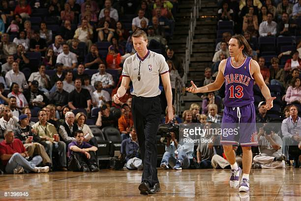 Basketball Phoenix Suns Steve Nash upset with referee Ed Malloy during game vs Orlando Magic Phoenix AZ 3/3/2006