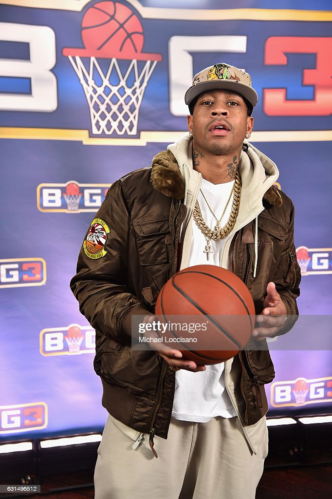 Basketball player Allen Iverson attends a press conference announcing the launch of the BIG3, a new, professional 3-on-3 basketball league, on January 11, 2017 in New York City.