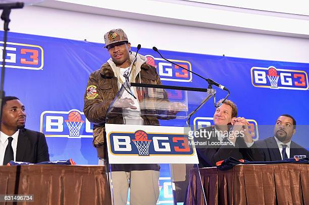 Basketball player Allen Iverson speaks during a press conference announcing the launch of the BIG3 a new professional 3on3 basketball league on...