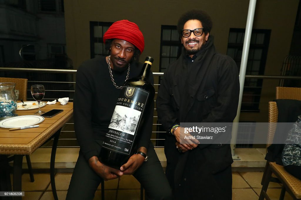 Basketball player Amar'e Stoudemire and Rohan Marley pose for photos during 'Stoudemire Wines' launch reception with the Jewish National Fund at Ronald S. Lauder JNF House on February 20, 2018 in New York City.