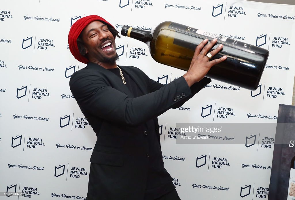 Basketball player Amar'e Stoudemire poses for photos during 'Stoudemire Wines' launch reception with the Jewish National Fund at Ronald S. Lauder JNF House on February 20, 2018 in New York City.