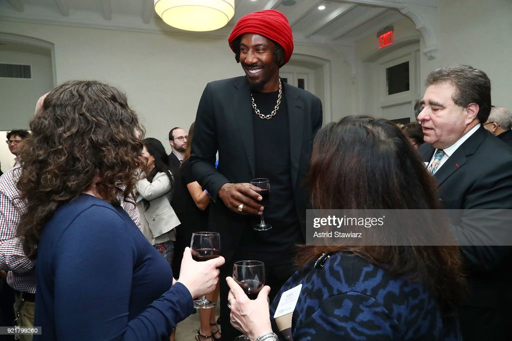 Basketball player Amar'e Stoudemire talks to press during 'Stoudemire Wines' launch reception with the Jewish National Fund at Ronald S. Lauder JNF House on February 20, 2018 in New York City.