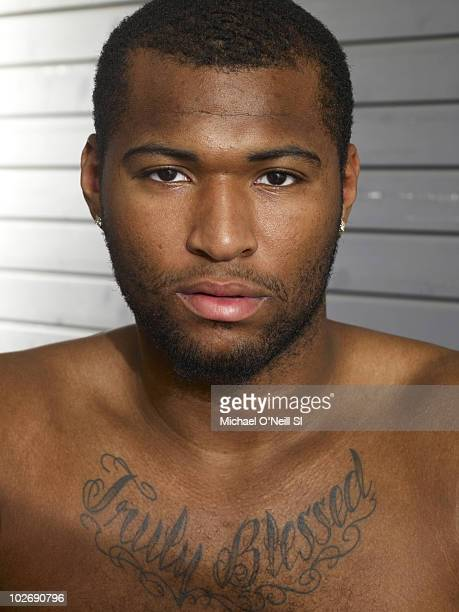 Basketball player and NBA prospect DeMarcus Cousins poses for a portrait session on June 22 New York NY for Sports Illustrated Magazine