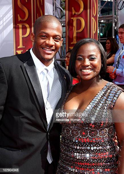 NCAA basketball player Anthony Johnson and guest arrive at the 2010 ESPY Awards at Nokia Theatre LA Live on July 14 2010 in Los Angeles California