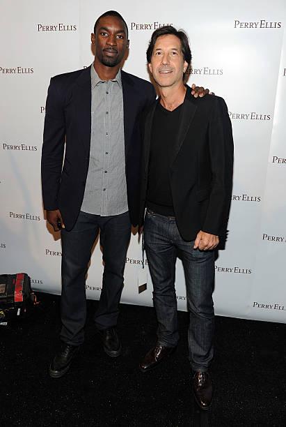 Basketball player Ben Gordon and designer John Crocco pose backstage at the Perry  Ellis Spring 2011 a93ede7bf