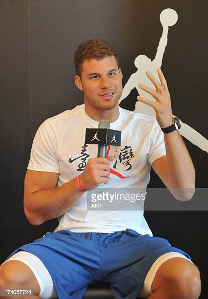 Basketball player Blake Griffin of Los Angeles Clippers speaks during a Take Flight press conference in Taipei on July 20, 2013. AFP PHOTO / Mandy...