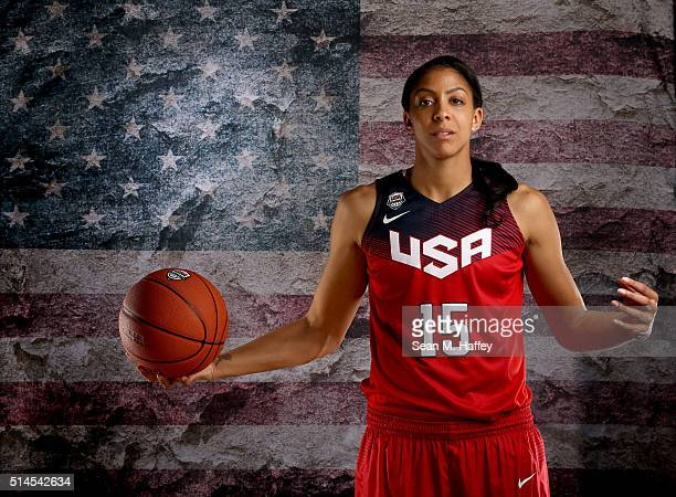 Basketball player Candace Parker poses for a portrait at the 2016 Team USA Media Summit at The Beverly Hilton Hotel on March 9 2016 in Beverly Hills...