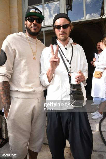 Basketball player Carmelo Anthony and designer Henrik Vibskov attend the Henrik Vibskov Menswear Spring/Summer 2018 show as part of Paris Fashion...