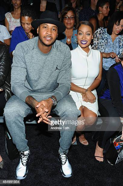 Basketball player Carmelo Anthony and La La Anthony attend Nike/Levi Kids fashion show during MercedesBenz Fashion Week Spring 2015 at Cafe Rouge on...