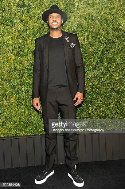 Basketball player Carmelo Anthony attends 11th Annual Chanel Tribeca Film Festival Artists Dinner at Balthazar on April 18, 2016 in New York City.