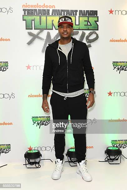 Basketball player Carmelo Anthony attends his launch of TMNT X Melo hosted by Macy's at Hearld Square on May 21 2016 in New York City