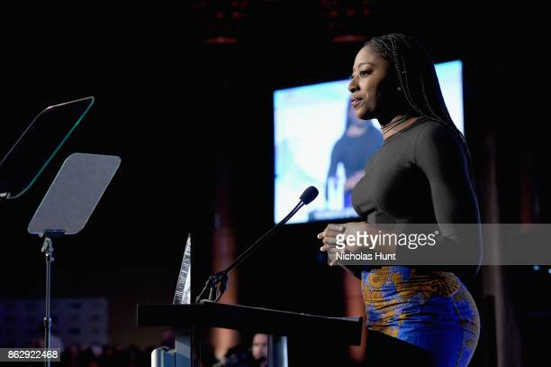 Basketball player Chiney Ogwumike speaks onstage at The Women's Sports Foundation's 38th Annual Salute To Women in Sports Awards Gala on October 18...