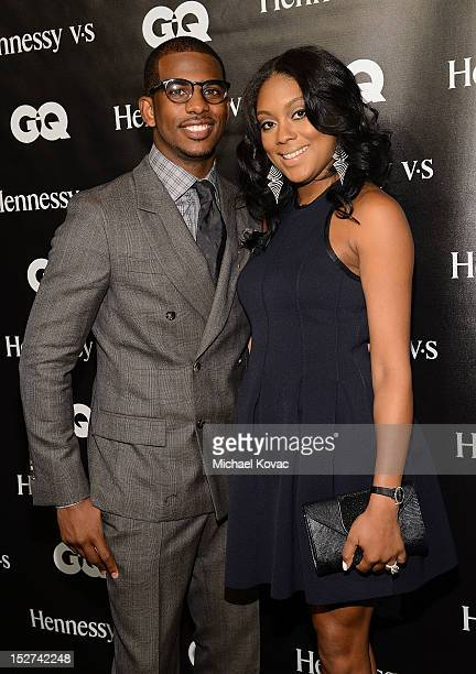 Basketball player Chris Paul and his wife Jada Crawley attend the GQ October Cover Party With Chris Paul with Hennessy at Sayer's Club on September...