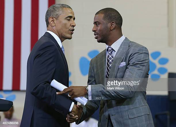 Basketball player Chris Paul Los Angeles Clippers introduces U.S. President Barack Obama at the Walker Jones Education Campus, on July 21, 2014 in...