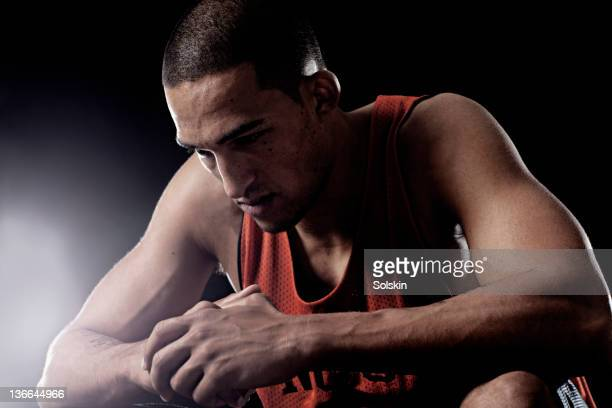 basketball player concentrating before game - concentration stock pictures, royalty-free photos & images