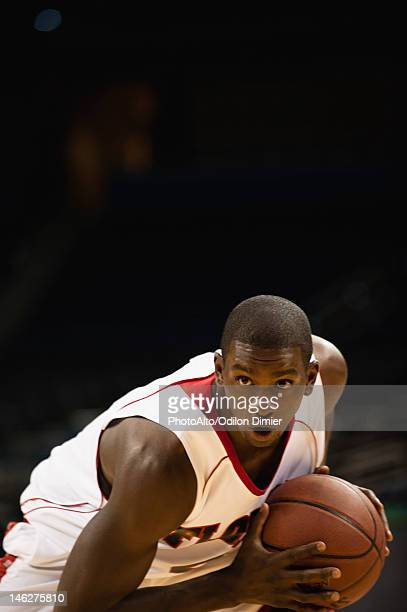 Basketball player concentrating on game
