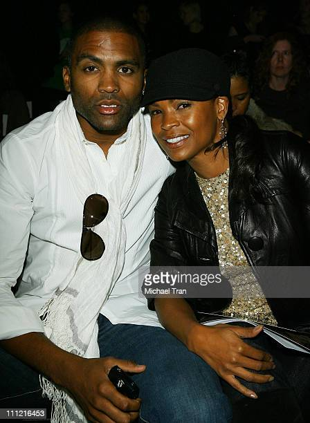 NBA basketball player Cuttino Mobley and actress Nia Long backstage and frontrow at Kevan Hall Spring 2008 collection during Los Angeles Mercedes...