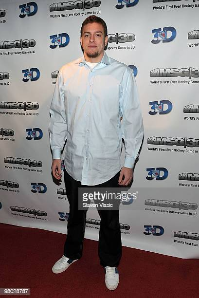 Basketball player David Lee attends the first hockey game in 3D telecast viewing party at Madison Square Garden on March 24 2010 in New York City