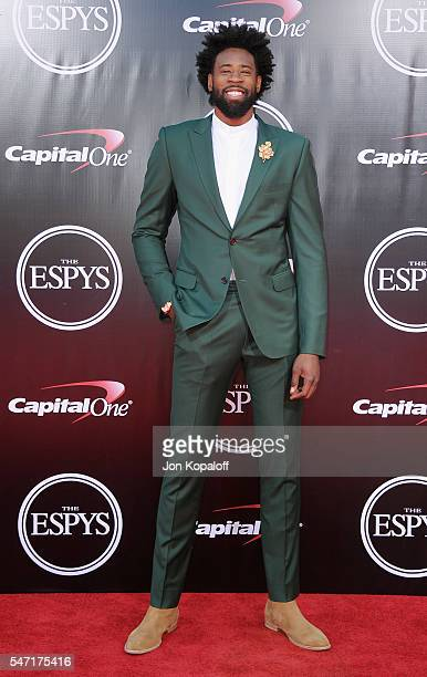NBA basketball player DeAndre Jordan arrives at The 2016 ESPYS at Microsoft Theater on July 13 2016 in Los Angeles California