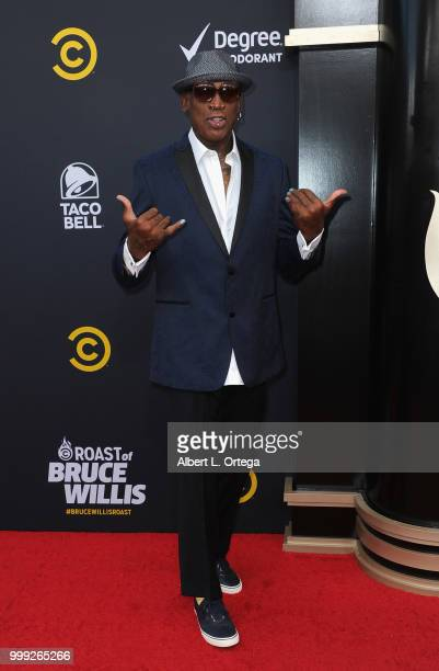 Basketball player Dennis Rodman arrives for the Comedy Central Roast Of Bruce Willis held at Hollywood Palladium on July 14 2018 in Los Angeles...