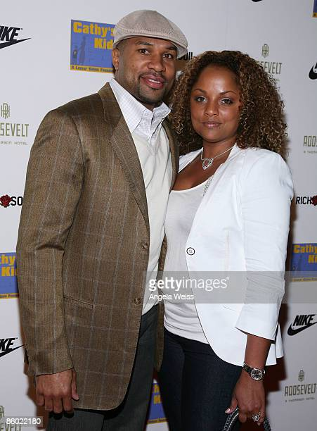 Basketball player Derek Fisher of the LA Lakers and his wife Candace Fisher arrive at the 5th Anniversary Dinner of the Cathy's Kids Foundation...