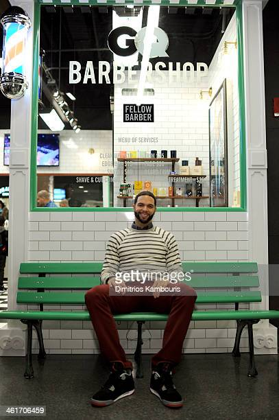 Basketball Player Deron Williams attends GQ Barber Shop Grand Opening with Fellow Barber at Barclays Center on January 10 2014 in New York City