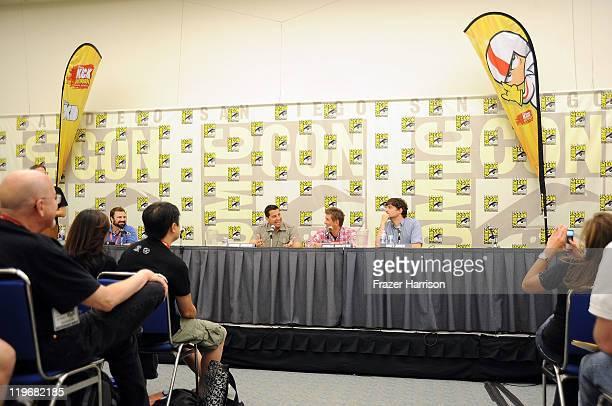 "Basketball player Dwight Howard, animator Sandro Corsaro, actors Charlie Schlatter and Matt L. Jones attend Disney XD'S ""Kick Buttowski Suburban..."