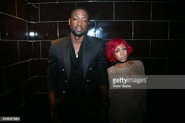 Basketball player Dwyane Wade and NBA Stylist Calyann Barnett attend the Balmain Menswear Spring/Summer 2017 after party as part of Paris Fashion...