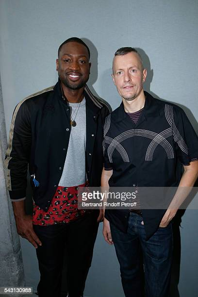Basket-ball player Dwyane Wade and Stylist Lucas Ossendrijver attend the Lanvin Menswear Spring/Summer 2017 show as part of Paris Fashion Week on...